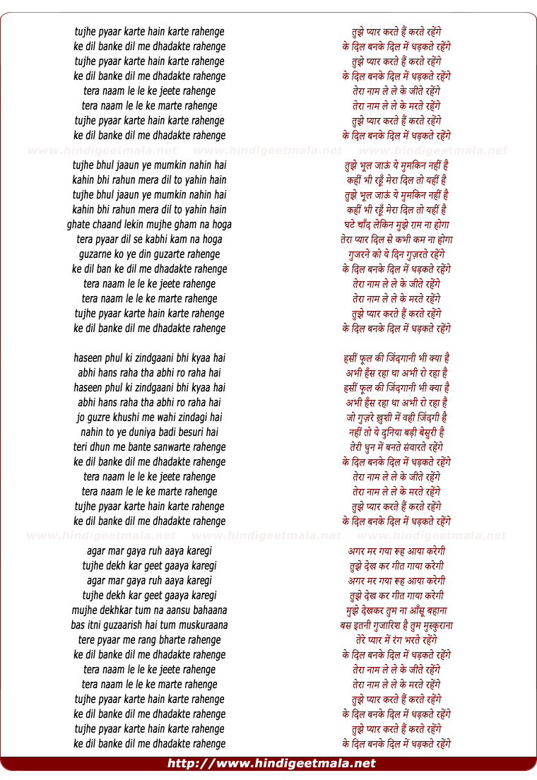 Tujhe Pyar Karte Karte - Male (From Naajayaz ) song detail