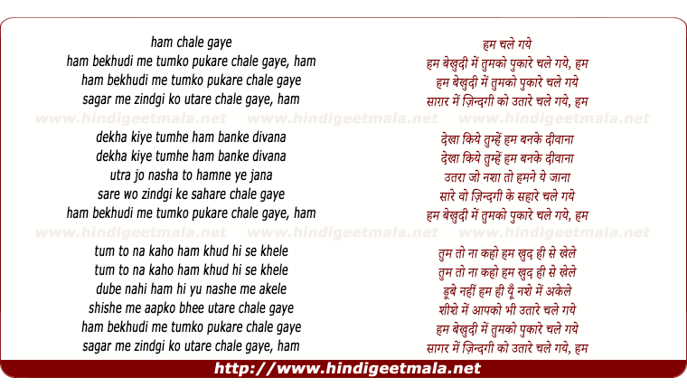 lyrics of song Hum Bekhudi Mein Tumko Pukare Chale Gaye