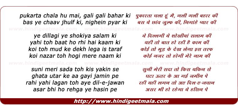 lyrics of song Pukarta Chala Hoon Main Gali Gali Bahaar