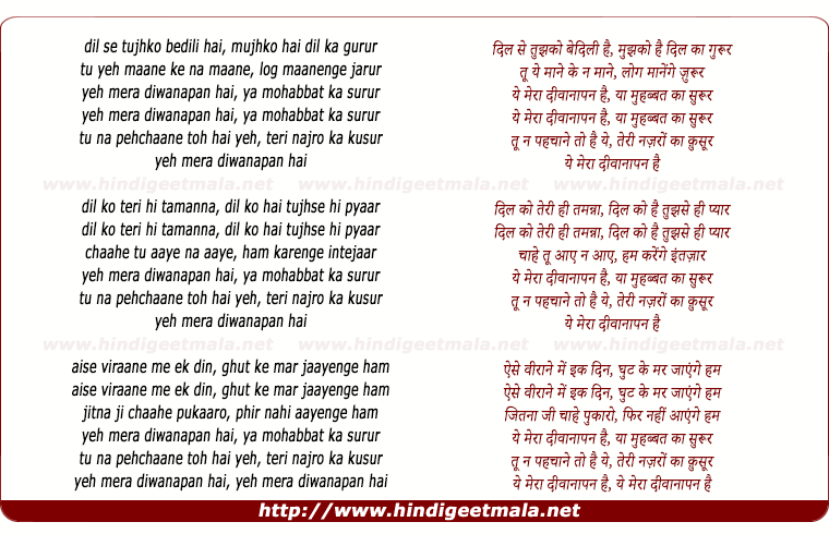 lyrics of song Dil Se Tujhko Be Dili Hai, Ye Mera Diwanapan Hai