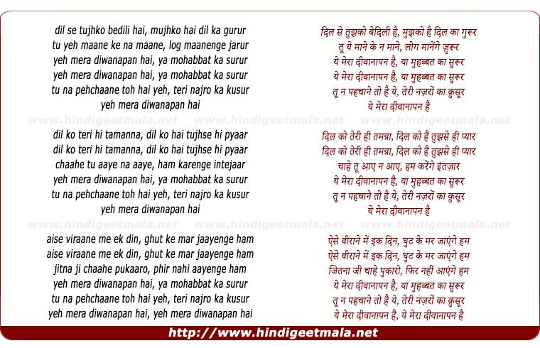 lyrics of song Dil Se Tujhko Be Dili Hai, Ye Mera Diwanapan Hai