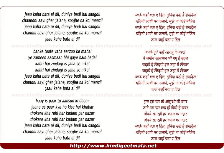 lyrics of song Jaoon Kahan Bata Aye Dil
