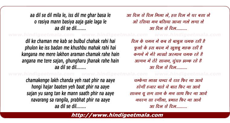lyrics of song Aa Dil Se Dil Mila Le
