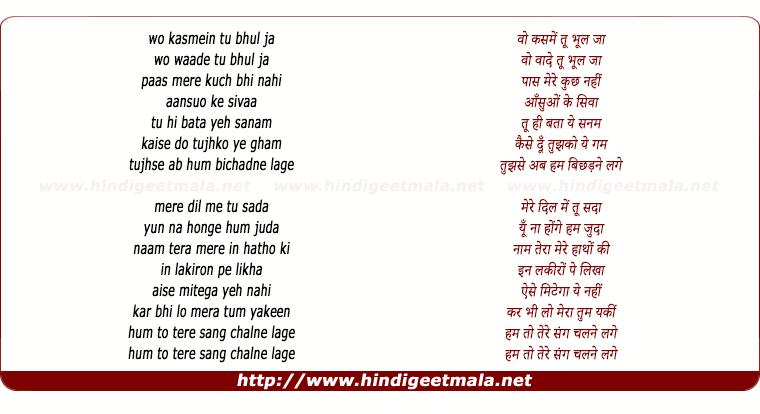 lyrics of song wo Kasmein Tu Bhul Ja