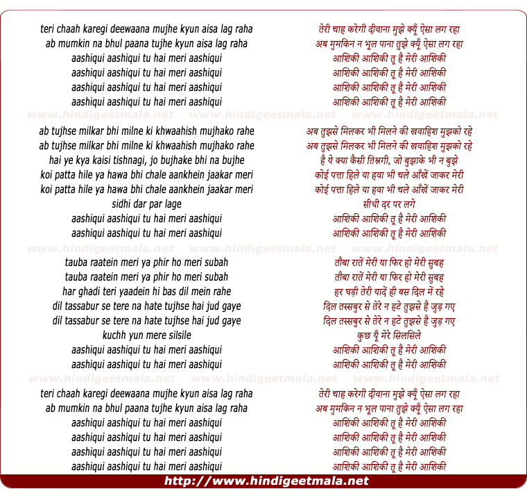lyrics of song Aashiqui Aashiqui Tu Hai Meri Aashiqui