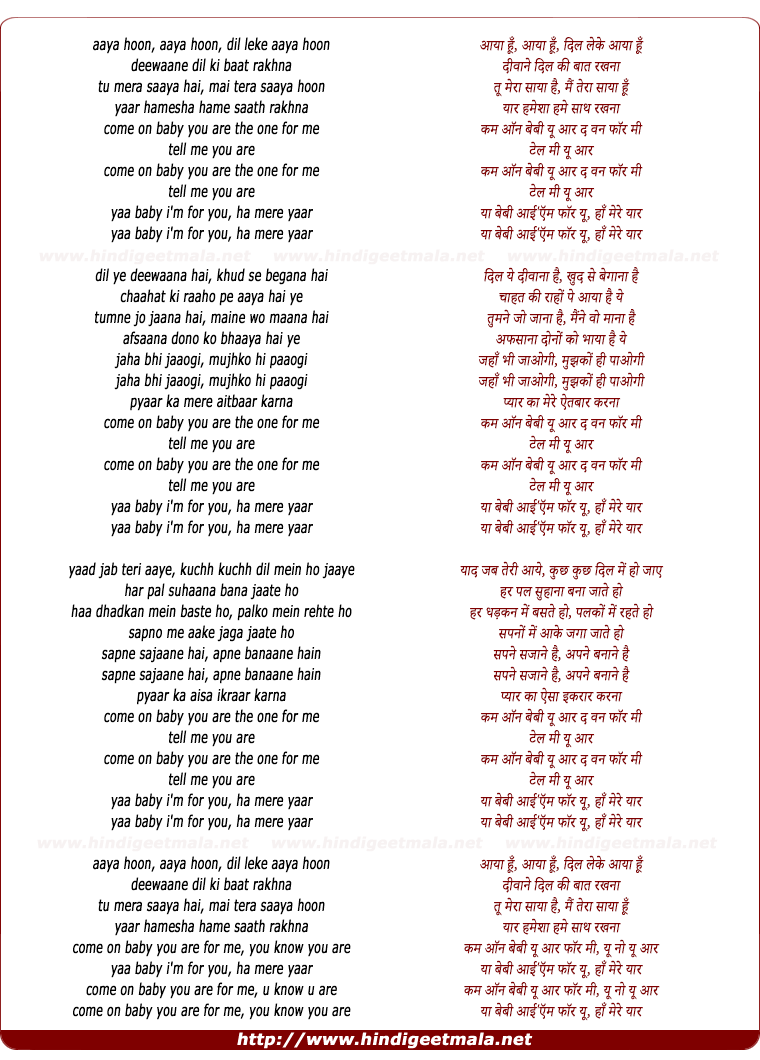 lyrics of song Aaya Hoon, Dil Leke Aaya Hoon