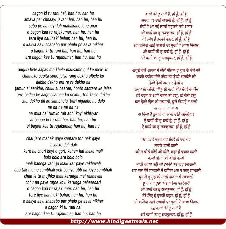 lyrics of song Bagon Kee Tu Ranee Hai