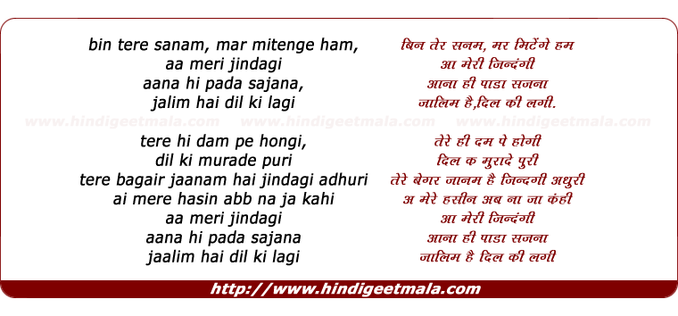 lyrics of song Bin Tere Sanam Mar Mitenge Ham