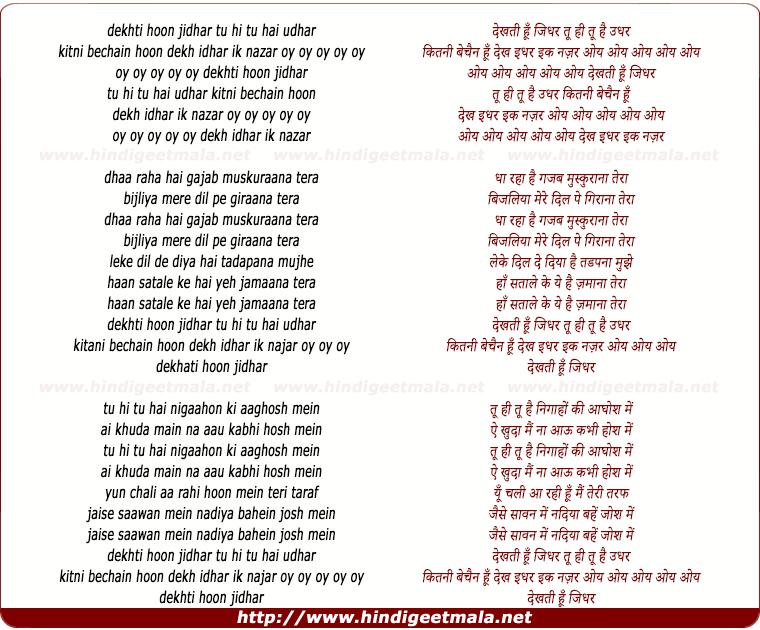 lyrics of song Dekhati Hoon Jidhar Tu Hi Tu Hai Udhar