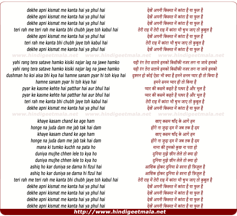 lyrics of song Dekhe Apani Kismat Me