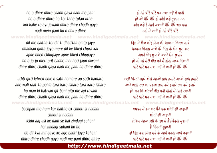 lyrics of song Dhire Dhire Chadh Gaya Nadi Mein Pani