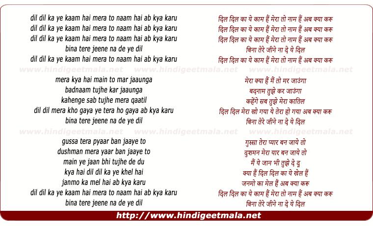 lyrics of song Dil Dil Ka Ye Kaam Hain