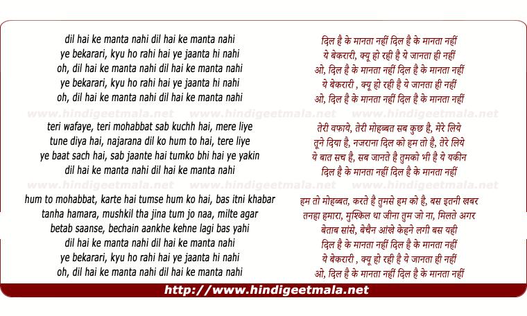 lyrics of song Dil Hai Ke Manta Nahin (Duet)