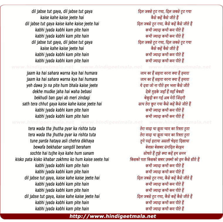 lyrics of song Dil Jabse Tut Gaya, Kaise Kahe Kaise Jite Hai
