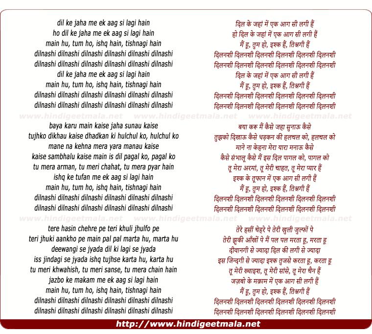 lyrics of song Dil Ke Jaha Me Ek Aag Si Lagi Hain
