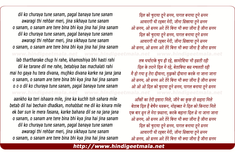 lyrics of song Dil Ko Churaaya Tumne Sanam, O Sanam O Sanam