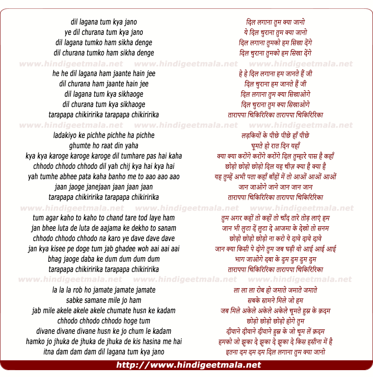 lyrics of song Dil Lagana Tum Kya Jano