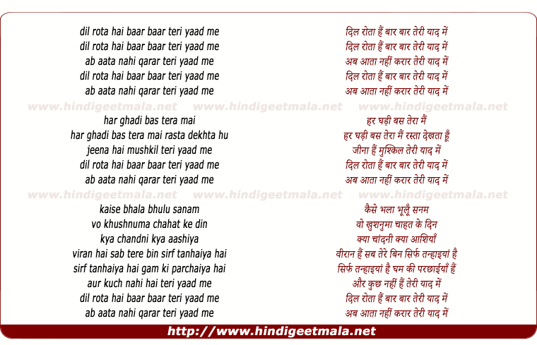 lyrics of song Dil Rotaa Hai Bar Bar