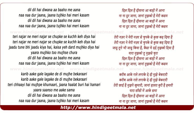 lyrics of song Dil Dil Hai Divana Aa Baho Me Aana