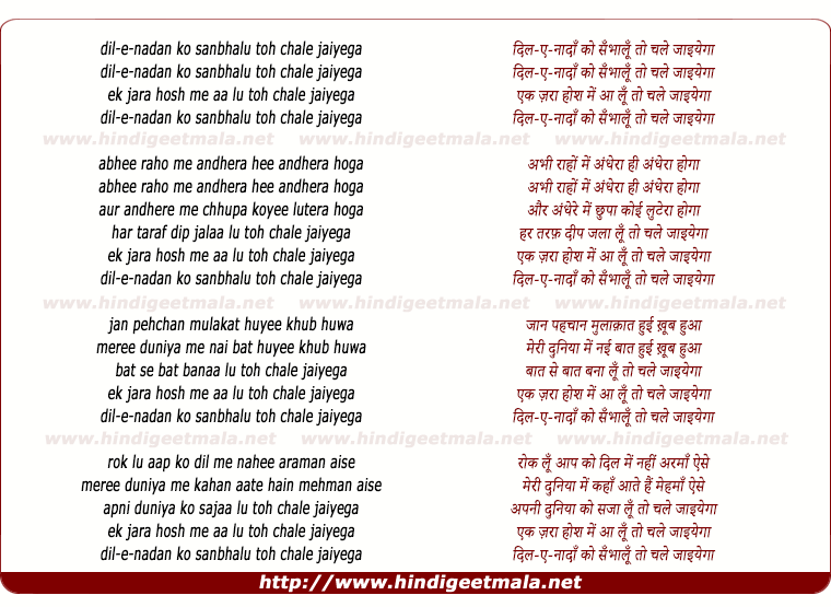 lyrics of song Dile Nadan Ko Sanbhalu Toh Chale Jaiyega
