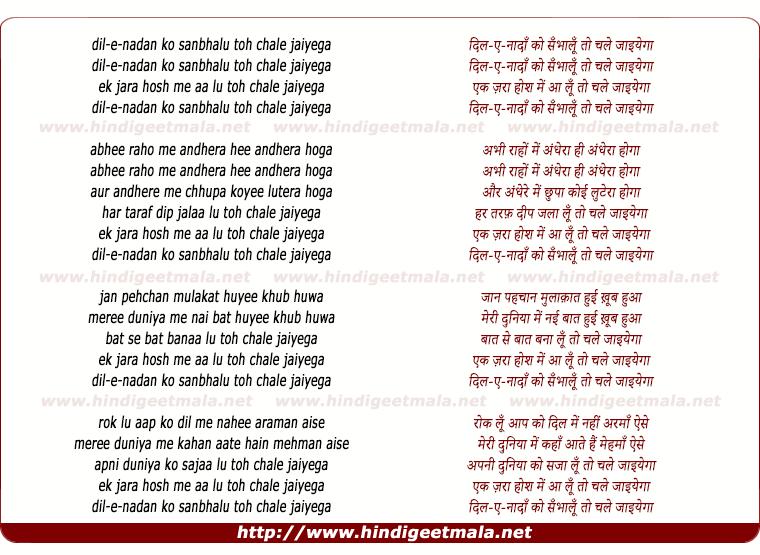 lyrics of song Dile Nadan Ko Sanbhalu Toh Chale Jaiyega