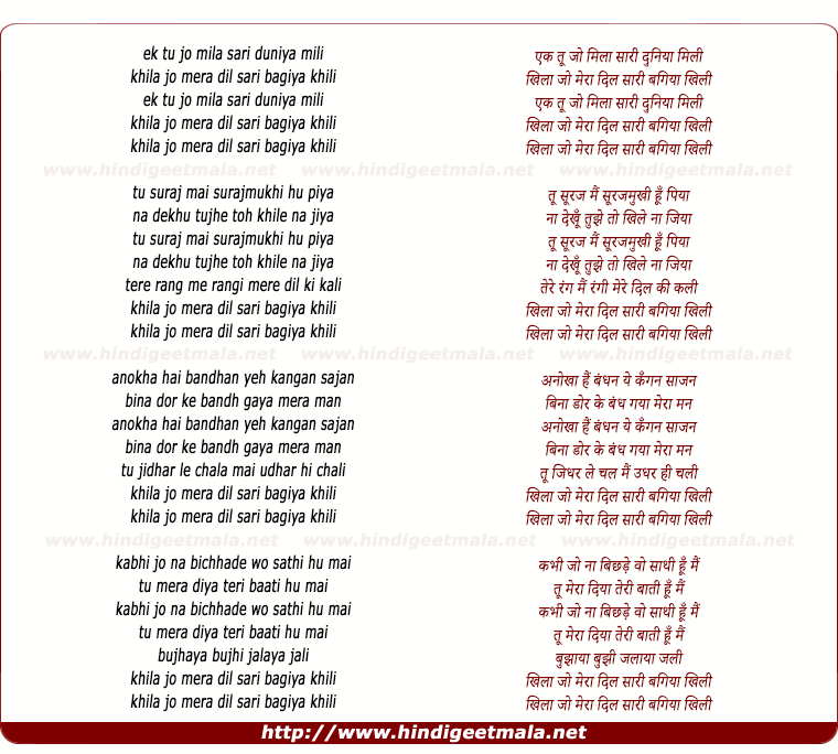 lyrics of song Ek Tu Jo Mila Saree Duniya Milee
