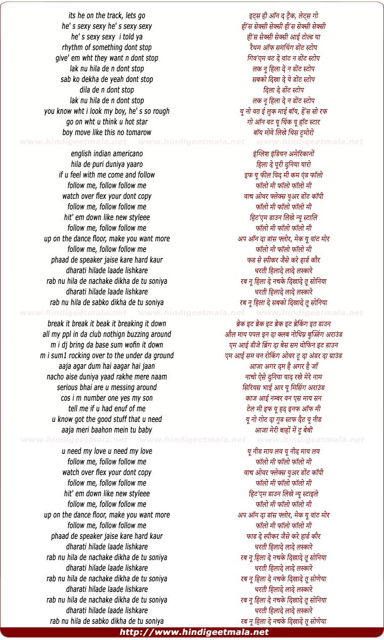 lyrics of song Follow Me, Lak Nu Hilaa De