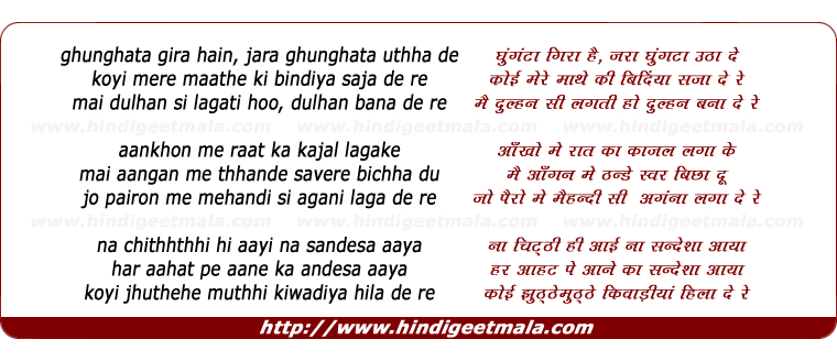 lyrics of song Ghunghata Gira Hain Jara Ghunghata Uthha De