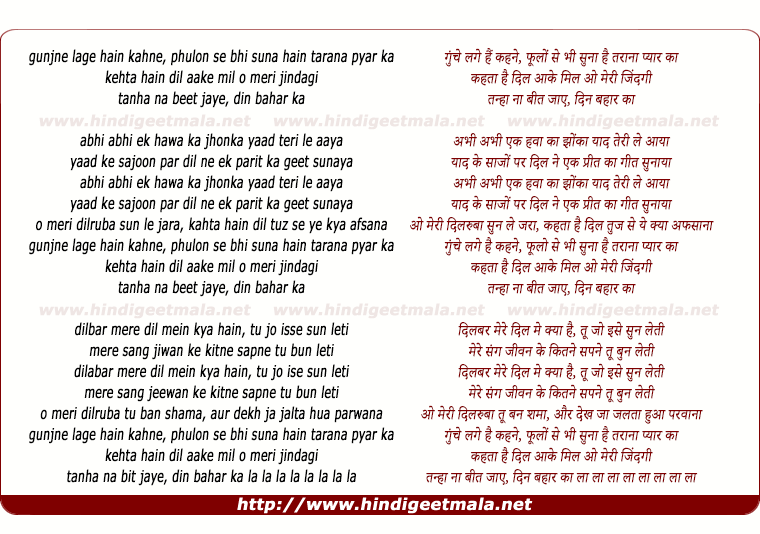 lyrics of song Goonjne Lage Hain