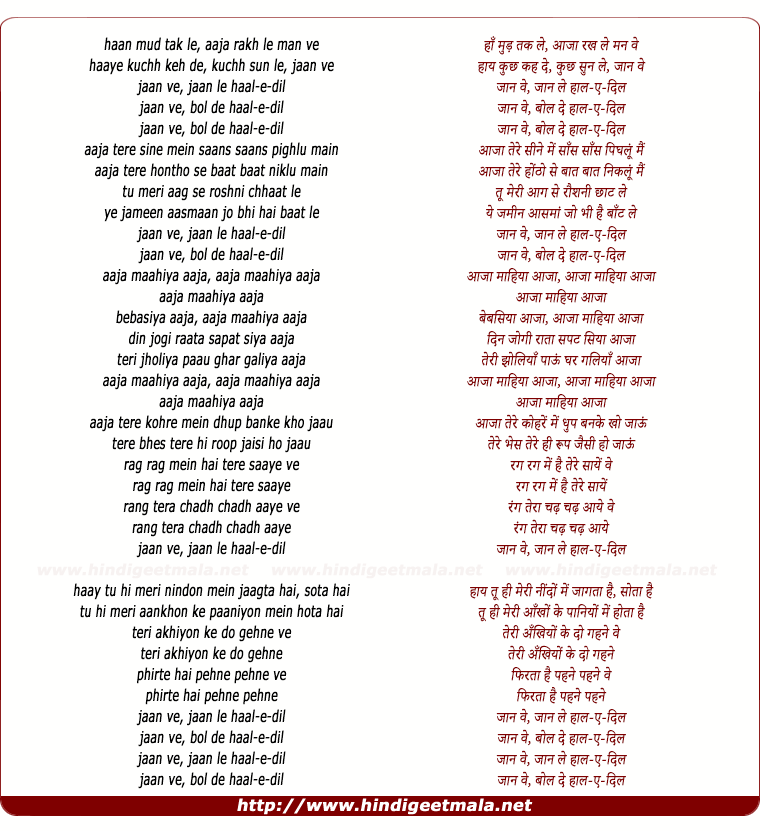 lyrics of song Jaan Ve, Jaan Le Haal E Dil
