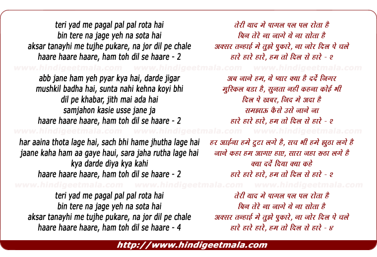 lyrics of song Teri Yaad Me Pagal Pal Pal Rota Hai