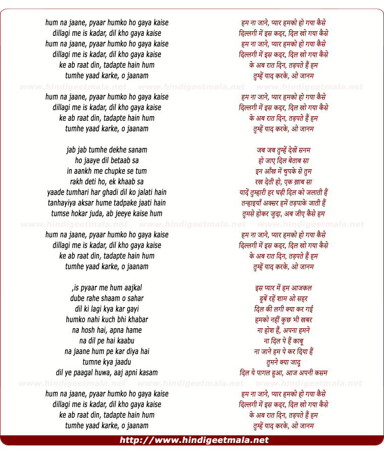 lyrics of song Ham Naa Jaane Pyaar Hamko Ho Gaye Kaise