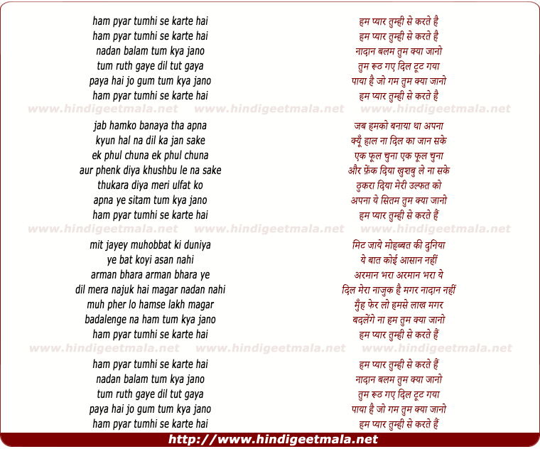 lyrics of song Ham Pyar Tumhi Se Karte Hai