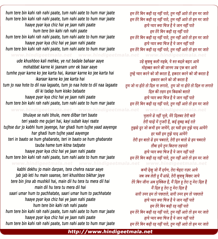 lyrics of song Ham Tere Bin Kahee Rah Nahee Paate