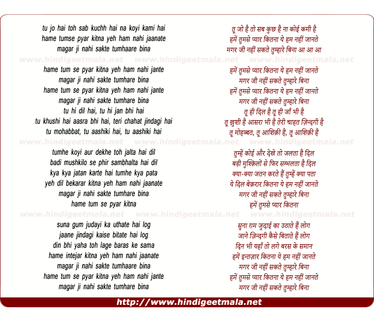 lyrics of song Hame Tumse Pyar Kitna Yeh Ham Nahee Jaanate