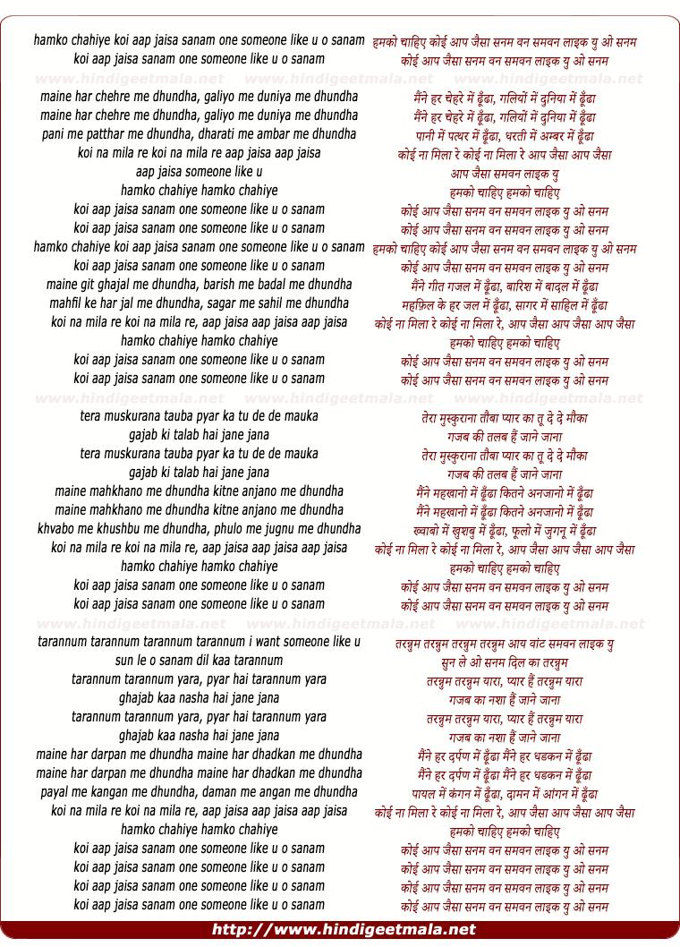 lyrics of song Hamko Chahiye Koyi Aap Jaisa Sanam
