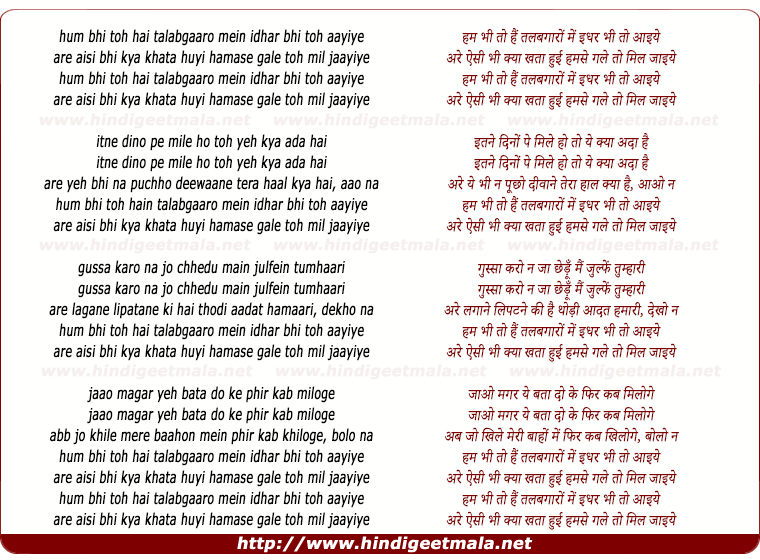 lyrics of song Hum Bhi Toh Hai Talabgaaro Mein