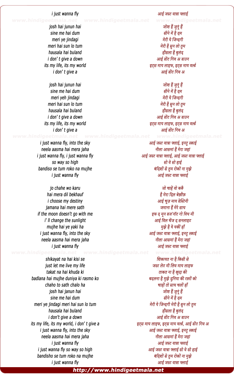 lyrics of song I Just Wanna Fly