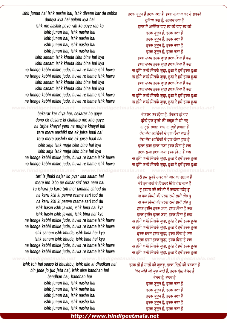 lyrics of song Ishk Junun Hai Ishk Nasha Hai