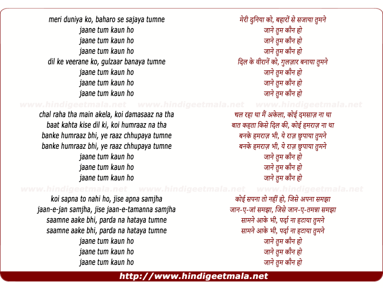 lyrics of song Jane Tum Kaun Ho (Meri Duniya Ko, Baharo Se Sajaya Tumne)