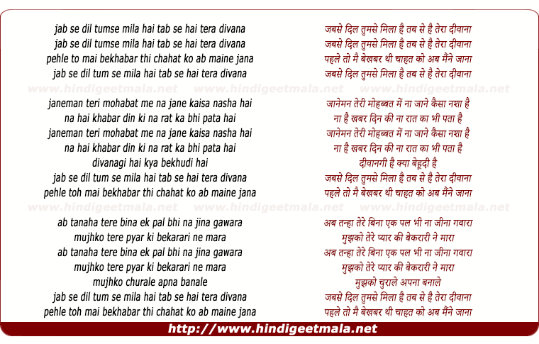 lyrics of song Jab Se Dil Tumse Mila Hai