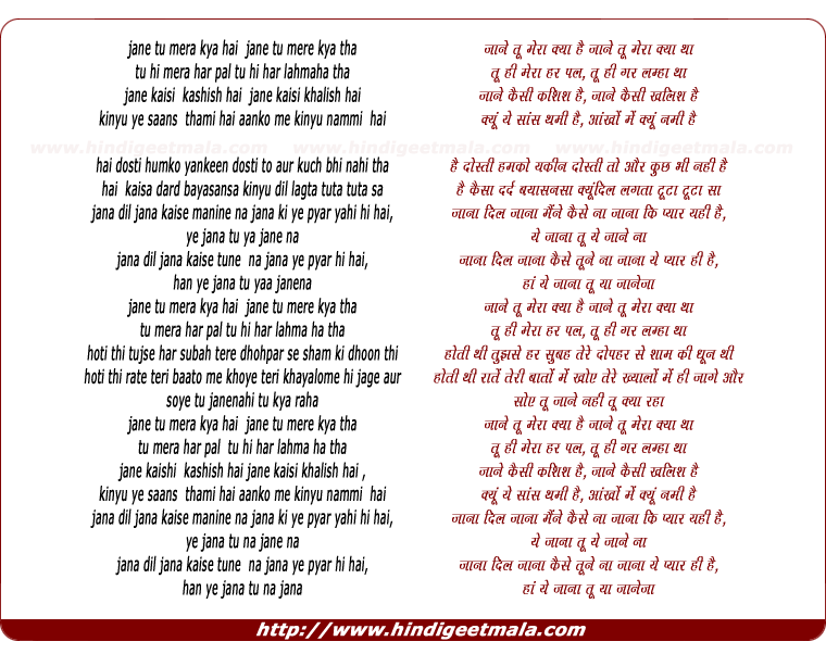 lyrics of song Jane Tu Mera Kya Hai (Aditi)