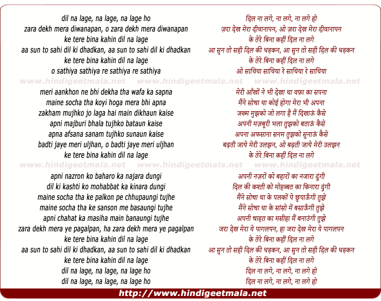lyrics of song Jara Dekh Mera Diwanapan