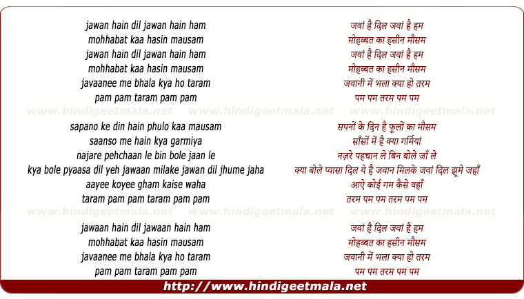 lyrics of song Jawan Hain Dil Jawan Hain Ham