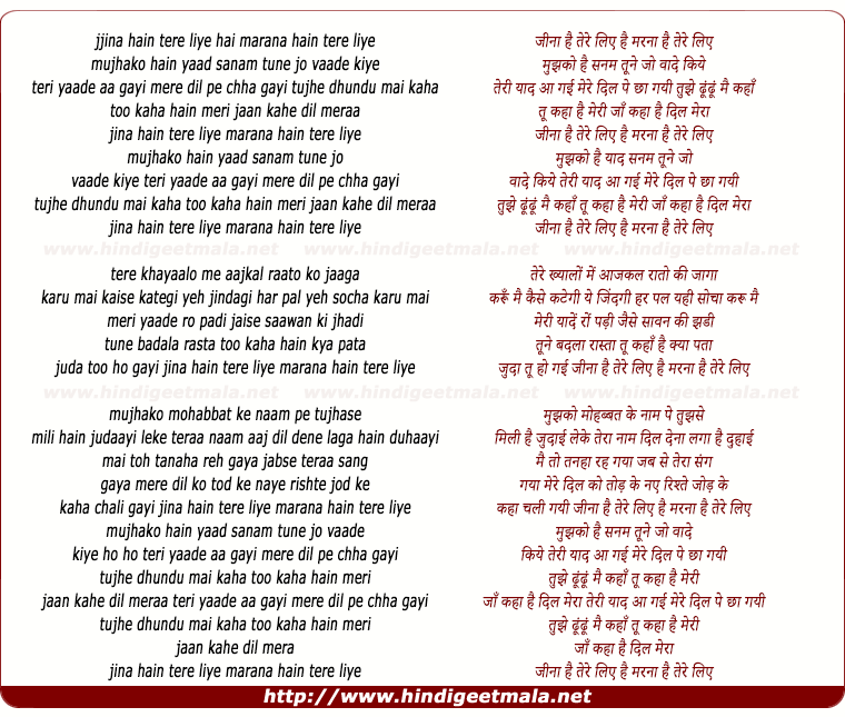 lyrics of song Jina Hain Tere Liye, Marana Hain Tere Liye