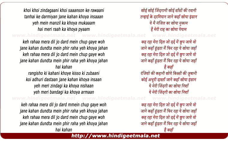 lyrics of song Keh Raha Mera Dil