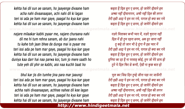 lyrics of song Kehata Hai Dil Sun Ae Sanam