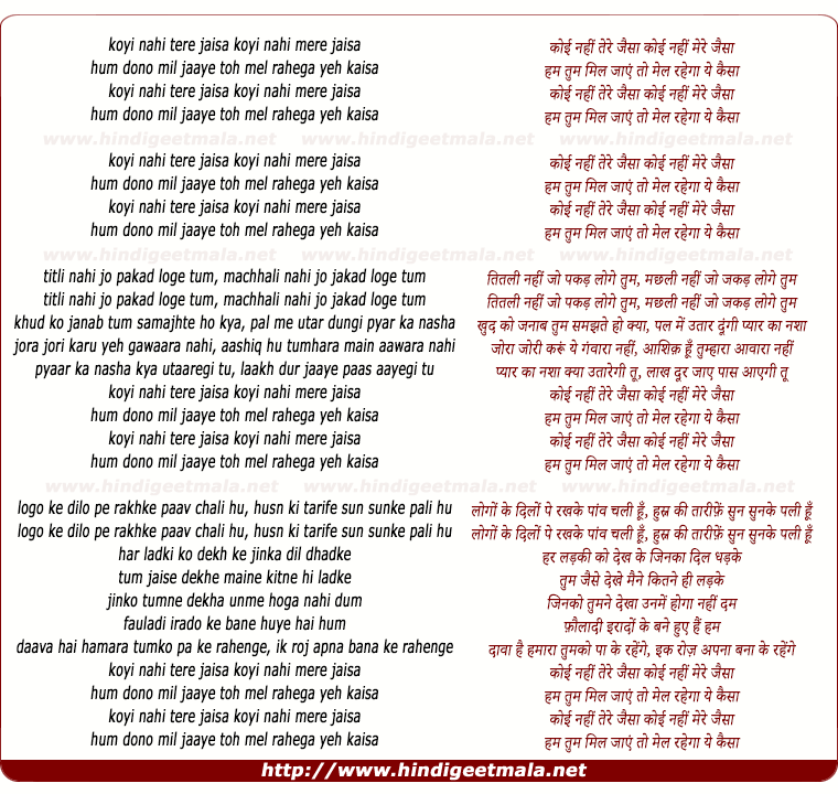 lyrics of song Koyi Nahi Tere Jaisa