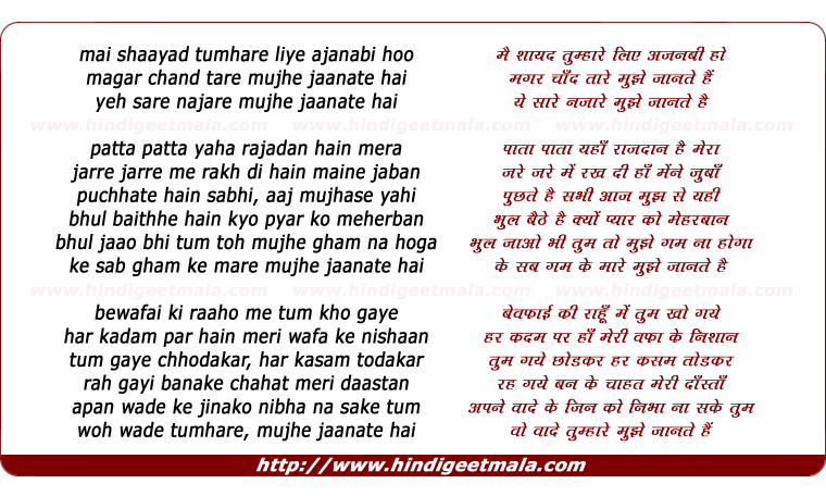 lyrics of song Mai Shaayad Tumhaare Liye Ajanabee Hoo