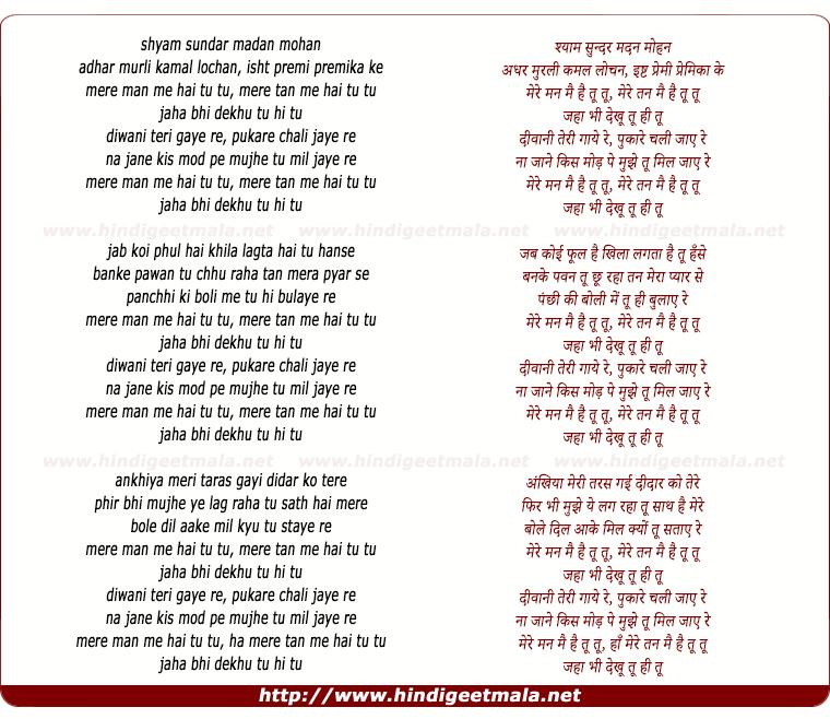 lyrics of song Mere Man Mein Hai Tu Tu